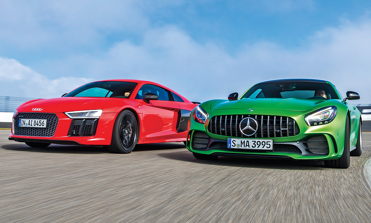 audi r8 v10 plus mercedes amg gt r test. Black Bedroom Furniture Sets. Home Design Ideas
