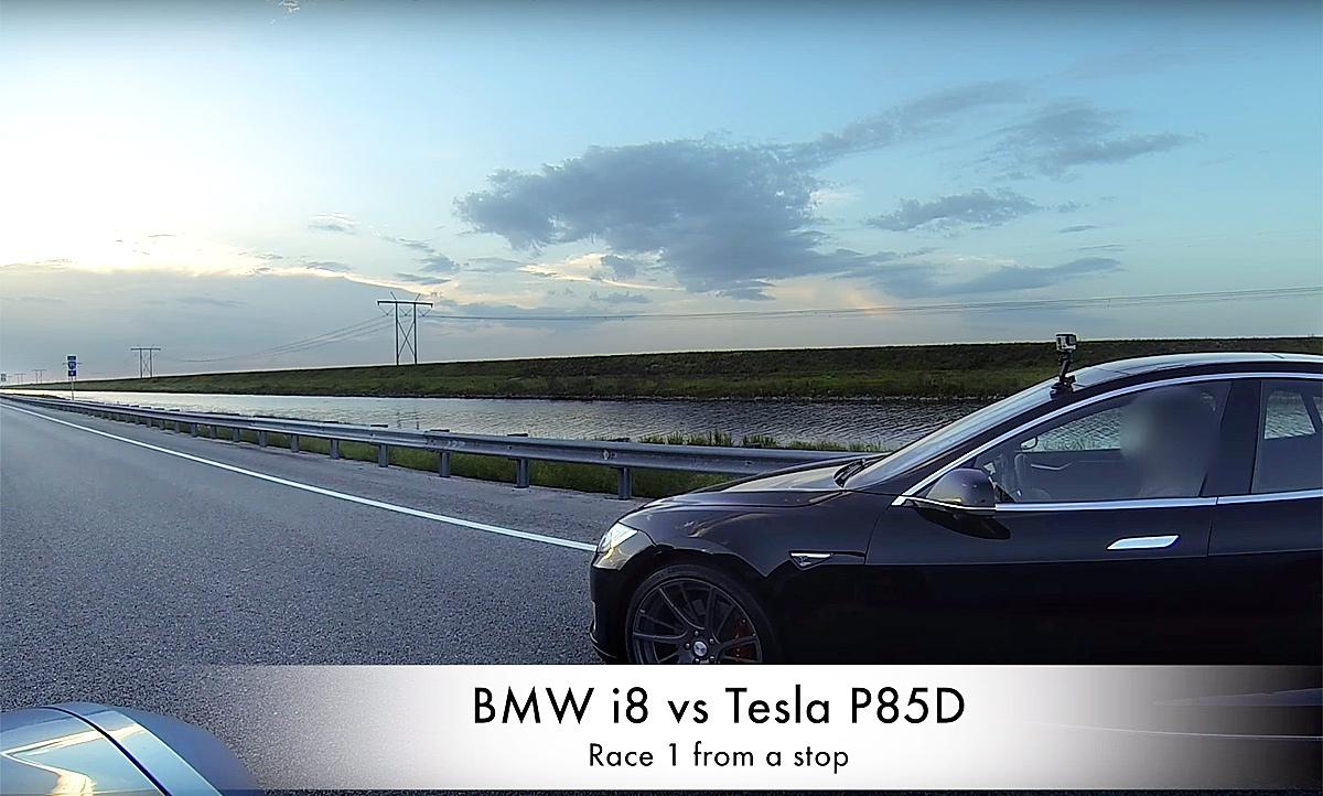 Tesla Model S P85d vs. BMW i8: Video   autozeitung.de