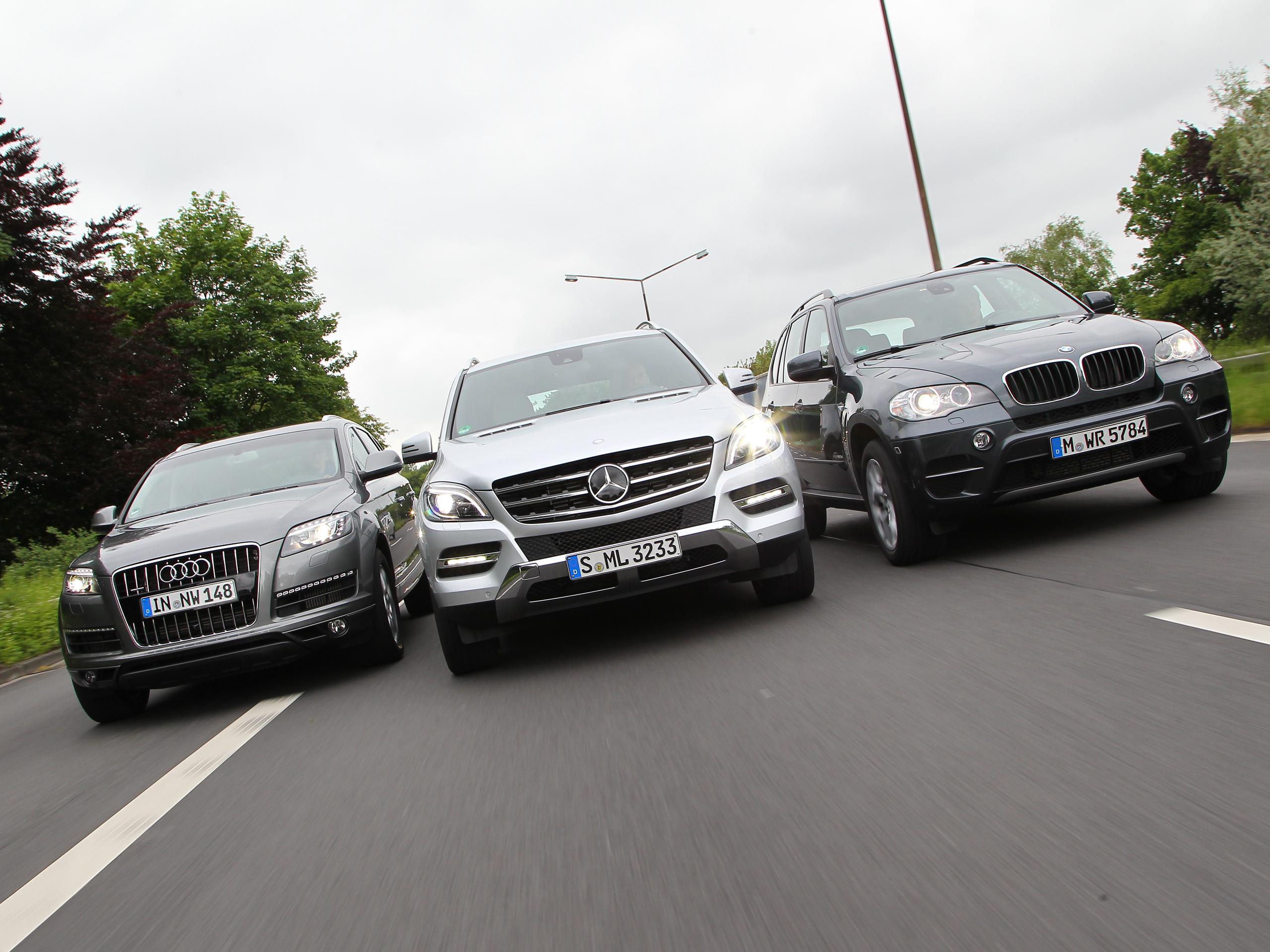 SUV Verbrauchstest Audi Q7 3 0 TDI gegen BMW X5 und Mercedes ML 350