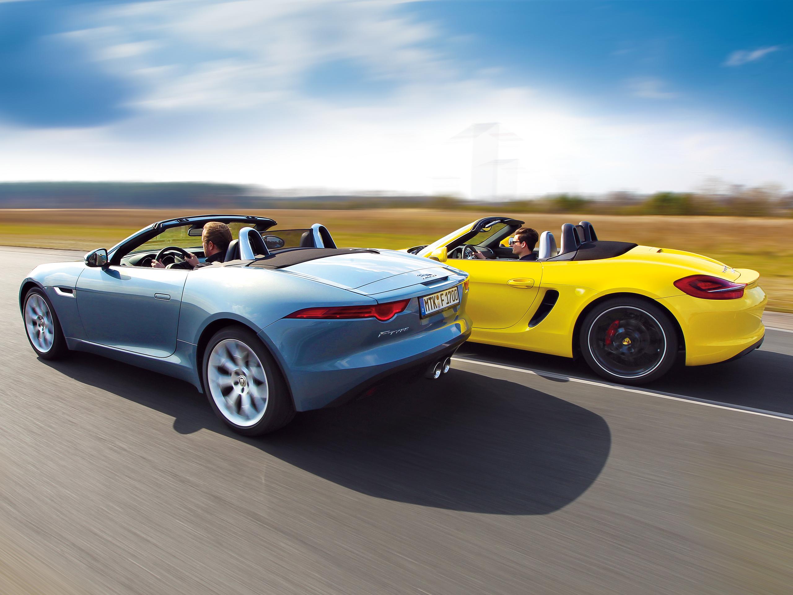 jaguar f type cabriolet vs porsche boxster s roadster. Black Bedroom Furniture Sets. Home Design Ideas