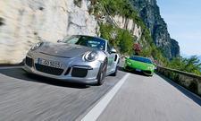 porsche 911 gt3 rs lamborghini huracan vergleich gardasee supersportwagen