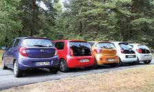 Opel Karl Citroen C1 Hyundai i10 Renault Twingo VW Up Kleinstwagen Vergleichstest