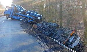 Unfall mit Autotransporter in Ibbenbüren