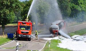 Brennender Tank-Laster bei Schrobenhausen