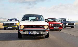 Opel Kadett GT/E, VW Golf GTI, Ford Escort RS 2000 und BMW 2002 tii