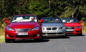 Mittelklasse-Cabrios: Lexus IS 250C, BMW 325i Cabrio und Audi A5 2.0 TFSI Cabriolet