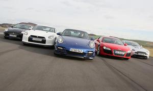 Supersportwagen: Porsche 911 Turbo gegen Aston Martin, Audi, Nissan und Jaguar im Vergleich
