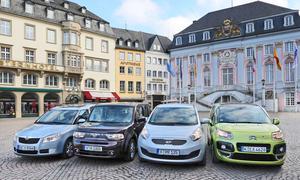 Erster Vergleich: Kia Venga und Nissan Cube gegen Skoda Roomster und Citroen C3 Picasso