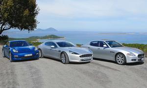 Viertürige Sportwagen: Der neue Aston Martin Rapide stellt sich der Konkurrenz Porsche Panamera S und Maserati Quattroporte S