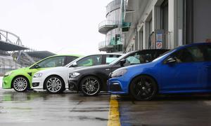 Kompaktsportler im Vergleich: VW Golf R DSG gegen BMW 130i, Audi S3 S tronic und Ford Focus RS