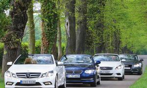 Mitteklasse-Cabrios im Vergleich: Audi A5 Cabrio, BMW 335i Cabrio, Infiniti G37 Cabrio und Mercedes E Cabrio