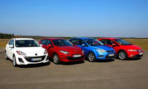 Ford Focus 1.6 16V, Honda Civic 1.4 i-VTEC, Mazda 3 Sport 1.6 und Renault Mégane 1.6 16V im Test
