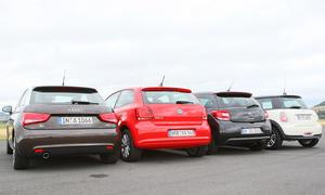 Audi A1, VW Polo, Citroën DS3 und der Mini Cooper D im Vergleichstest der Kleinwagen