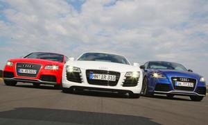 Audi TT RS, Audi RS 5 und der Audi R8 4.2 FSI quattro im Vergleichstest der sportlichen Audi