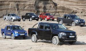 Ford Ranger, Isuzu D-Max, Mitsubishi L200, Nissan Navara, Toyota Hilux und VW Amarok im Vergleichstest
