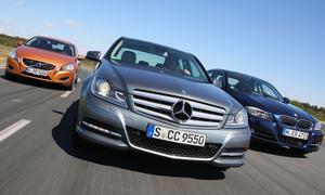 <b>Drei Limousinen der oberen Mittelklasse im Test</b><br />Mercedes C 350 gegen BMW 335i und Volvo S60