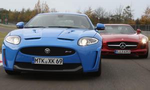 Jaguar XKR-S 5.0 und Mercedes SLS AMG im Test der AUTO ZEITUNG