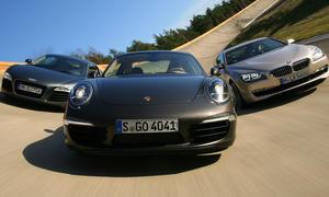 Porsche 911 991 2012 gegen Audi R8 BMW 650i Coupé im Vergleichstest