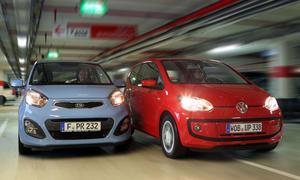 Der VW Up! tritt im Kleinwagen-Test gegen den Kia Picanto an