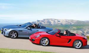 Porsche Boxster S und Mercedes SLK 350 im Roadster-Vergleich