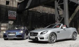 Audi TT RS plus Roadster und Mercedes SLK 55 AMG im Roadster-Vergleich