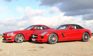Vergleich Vergleichstest Mercedes SL 63 AMG Mercedes SLS AMG Roadster Luxus-Roadster Sportwagen
