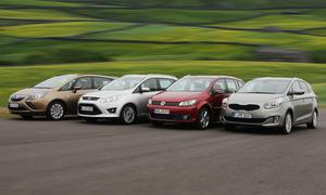 Vier Kompakt-Vans im Vergleich: Ford Grand C-MAX, Kia Carens, Opel Zafira und VW Touran im Test