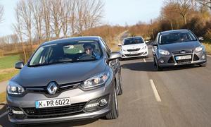 Ford Focus 1.6 TDCi, Peugeot 308 e-HDi 115, Renault Megane dCi 110 - Kompaktklassen-Test