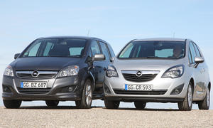 Opel Meriva 1.4 ECOTEC und Opel Zafira 1.8 ECOTEC im Klassenduell Vorderansicht