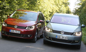 VW Touran 1.4 TSI – VW Sharan 1.4 TSI im Klassenduell Front