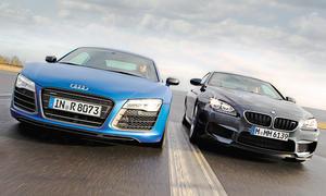 Markenvergleich Audi R8 V10 BMW M6 Supersportler
