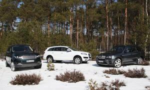 Vergleichstest Luxus-SUV Audi BMW Range Rover Größenvergleich