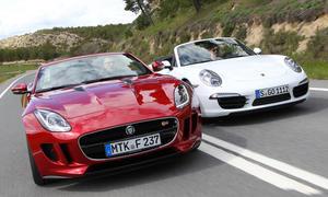 Vergleich offene Sportler Jaguar F-Type S Porsche 911 Carrera Cabrio