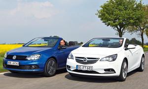 Markenvergleich Cabrios Opel Cascada 2.0 BiTurbo Cabrio ecoFLEX Diesel VW Eos 2.0 TDI Stoffdach Blechdach