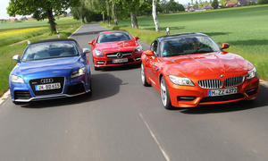 Roadster Verbrauchstest 2013 Audi TT RS BMW Z4 sDrive35is Mercedes SLK 350 Benziner