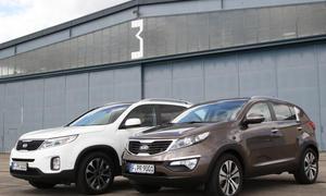 Vergleich Kia Sportage 2.0 CRDi 184 AWD Sorento 2.2 CRDi AWD bilder und technische daten