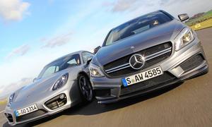 Bilder Mercedes A 45 AMG A-Klasse Porsche Cayman S Tracktest