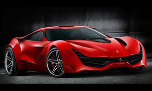 Ferrari Casco Rosso Design Entwurf Skizze Supersportwagen