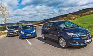 Opel Meriva 1.6 CDTi ecoFLEX Citroen C3 Picasso HDi 115 Ford B-MAX 1.6 TDCi Vergleich Minivans Bilder technische Daten
