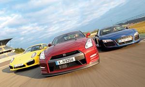 Nissan GT-R Audi R8 V10 plus Porsche 911 Turbo S Sportwagen Vergleich Bilder technische Daten