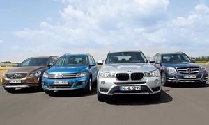 BMWX3 xDrive20d Mercedes GLK 220 CDI 4matic Volvo XC 60 D4 AWD VW Tiguan 2.0 TDI 4motion SUV Vergleichstest Bilder
