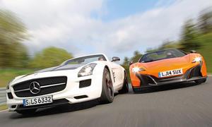 McLaren 650S Spider Mercedes SLS AMG GT Roadster Sportwagen Vergleich Bilder