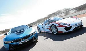 BMW i8 Porsche 918 Spyder Hybrid Supersportwagen Bilder technische Daten