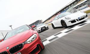 BMW M4 Coupe Lexus RC F Porsche 911 Carrera GTS Sportwagen Vergleichstest