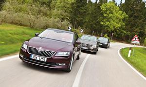 Skoda Superb BMW 5er Mercedes E-Klasse Limousinen Vergleich Oberklasse Business