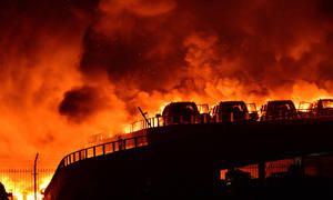 China Explosion Tianjin Auto-Friedhof Feuer Schäden