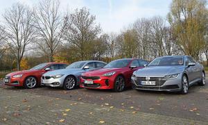 Audi S5 Sportback/BMW 440i Gran Coupé/VW Arteon/Kia Stinger im Test