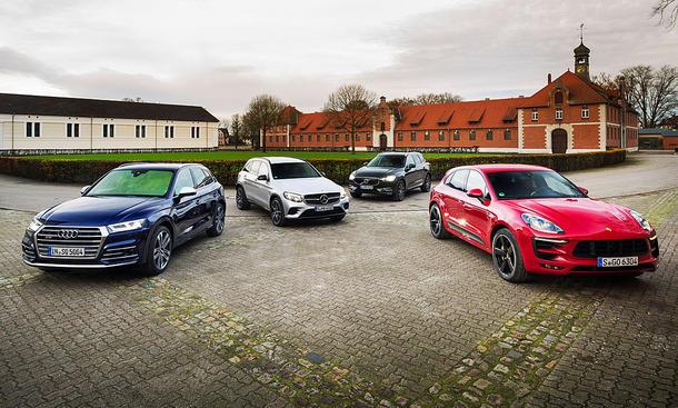 Audi SQ5, Mercedes-AMG GLC, Porsche Macan GTS, Volvo XC 60 T6