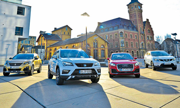 Vergleichstest der Kompakt-SUV Peugeot 3008, Audi Q2, Nissan Qashqai und Seat Ateca