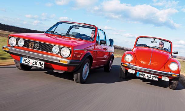 Cabrio Vergleich: VW Golf 1 vs. Käfer 1303